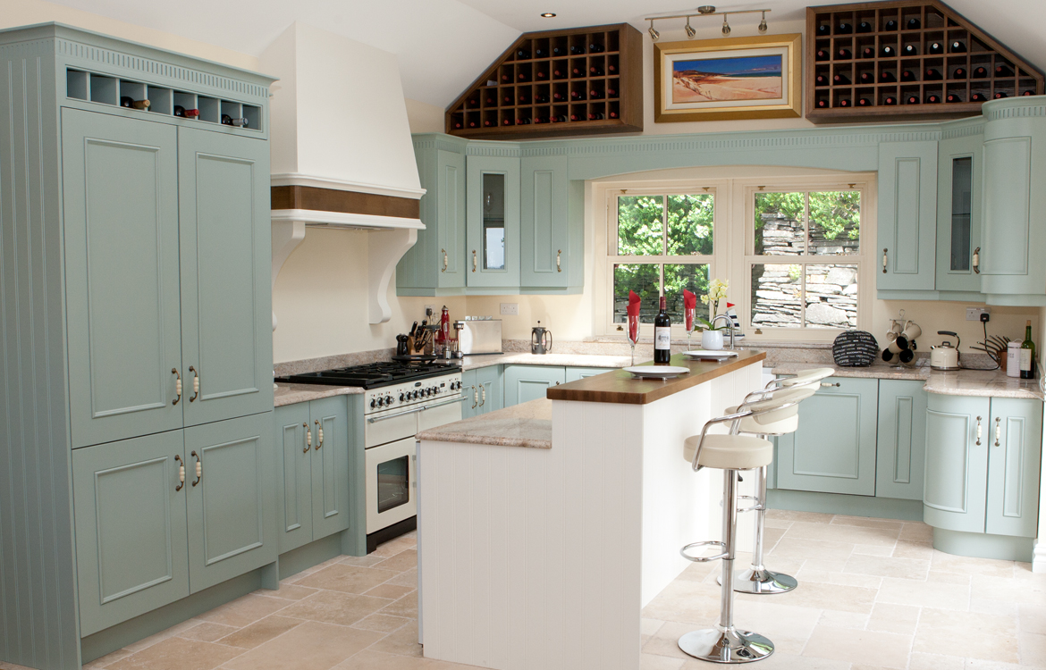 Hand Painted Duck Egg Blue Bespoke Kitchen Limerick Glin